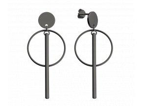 Černé stříbrné kruhové náušnice MINET s tyčkami