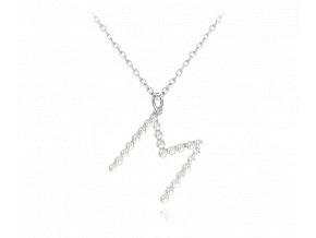 """Stříbrný náhrdelník MINET písmeno """"M"""" s perličkami"""