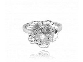 Stříbrný prsten MINET KYTIČKA se zirkony vel. 52