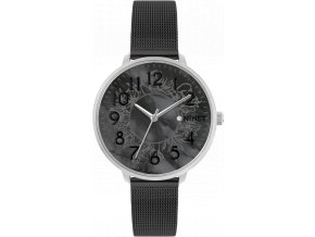 Stříbrno-černé dámské hodinky MINET PRAGUE Black Flower MESH s čísly