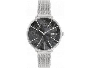 Stříbrné dámské hodinky MINET PRAGUE Black Flower Mesh