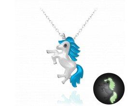 Svítící modrý stříbrný náhrdelník MINET JEDNOROŽEC