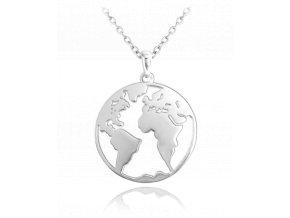 Cestovatelský stříbrný náhrdelník MINET ZEMĚKOULE