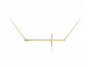 Pozlacený stříbrný náhrdelník MINET KŘÍŽ ležatý