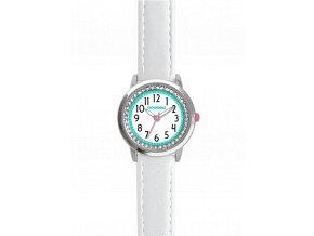 Bílé třpytivé dívčí dětské hodinky se kamínky CLOCKODILE SPARKLE