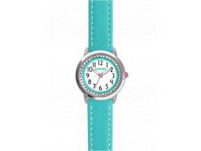 Tyrkysové třpytivé dívčí dětské hodinky se kamínky CLOCKODILE SPARKLE