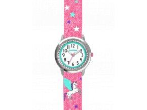 Růžové třpytivé dívčí dětské hodinky s jednorožcem a kamínky CLOCKODILE UNICORN