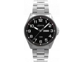 Ocelové pánské hodinky LAVVU BERGEN Black se svítícími čísly