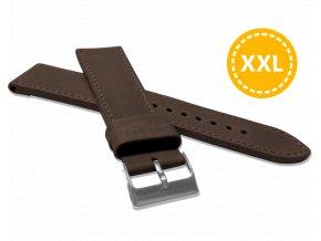 XXL Prodloužený prošitý tmavě hnědý řemínek LAVVU SPORT z luxusní kůže Top Grain - 24 XXL