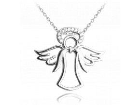 Stříbrný náhrdelník MINET ANDĚL se svatozáří