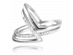 Asymetrický stříbrný prsten MINET s bílými zirkony vel. 54