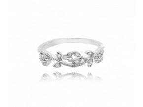 Rozkvetlý stříbrný prsten MINET FLOWERS s bílými zirkony vel. 60