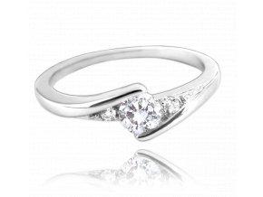 Elegantní stříbrný prsten MINET s bílými zirkony vel. 53