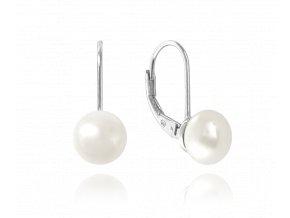 Stříbrné náušnice MINET s bílou perlou