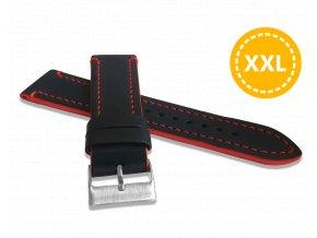 XXL Prodloužený červeně prošitý řemínek LAVVU TAILOR z luxusní kůže Top Grain - 24 - XXL