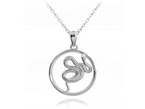 Stříbrný náhrdelník s hadem MINET SNAKE