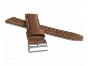 Polstrovaný hnědý prošitý řemínek LAVVU CLASSIC z luxusní kůže Top Grain - 24