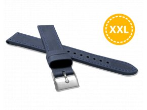 XXL Prodloužený prošitý modrý řemínek LAVVU SPORT z luxusní kůže Top Grain - 18 XXL