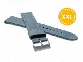 XXL Prodloužený prošitý modrý řemínek LAVVU SPORT z luxusní kůže Top Grain - 22 XXL