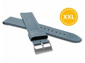 XXL Prodloužený prošitý modrý řemínek LAVVU SPORT z luxusní kůže Top Grain - 24 XXL