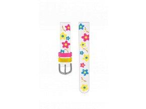 Bílo-růžový květovaný řemínek k dětským hodinkám CLOCKODILE