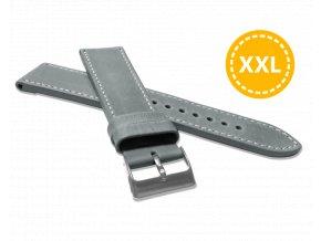 XXL Prodloužený prošitý šedý řemínek LAVVU SPORT z luxusní kůže Top Grain - 22 XXL