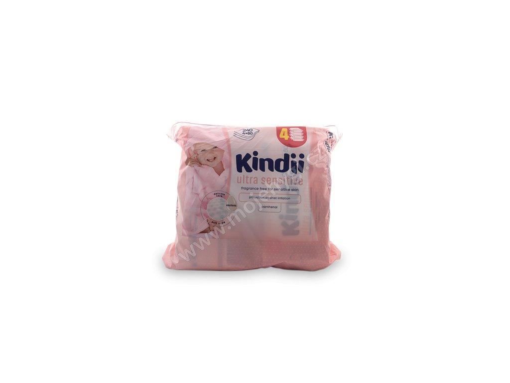 Vlhčené ubrousky Kindii (ultra sensitive) - 4x60 ks