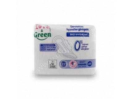 Dámské vložky Love & Green s křidélky ULTRA NIGHT SOFT (32 cm) - 10 ks
