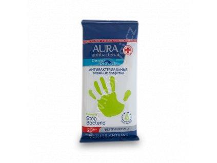 Cestovní vlhčené ubrousky AURA (antibakteriální) - 20 ks