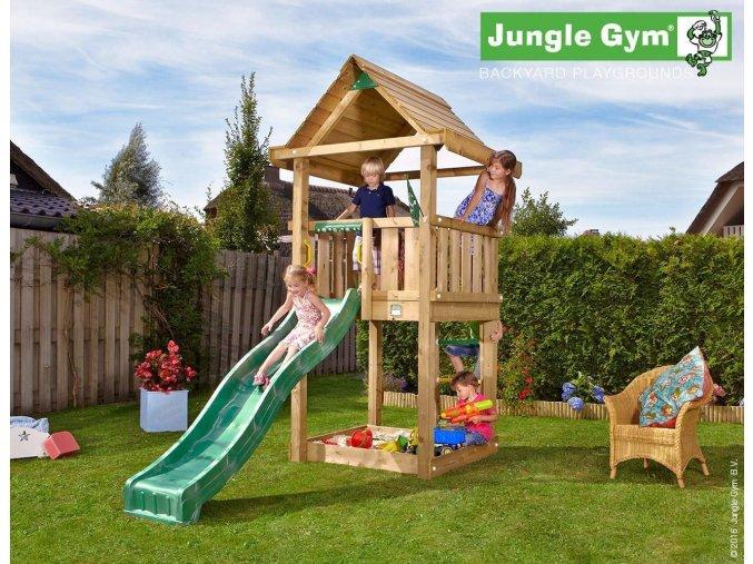 Jungle House veža s tmavozelenou šmýkačkou