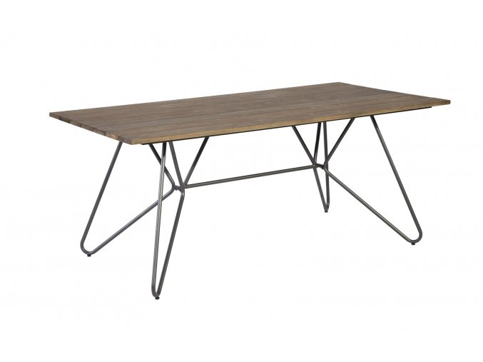 exotan slimm steel dining table eucalyptus 143819