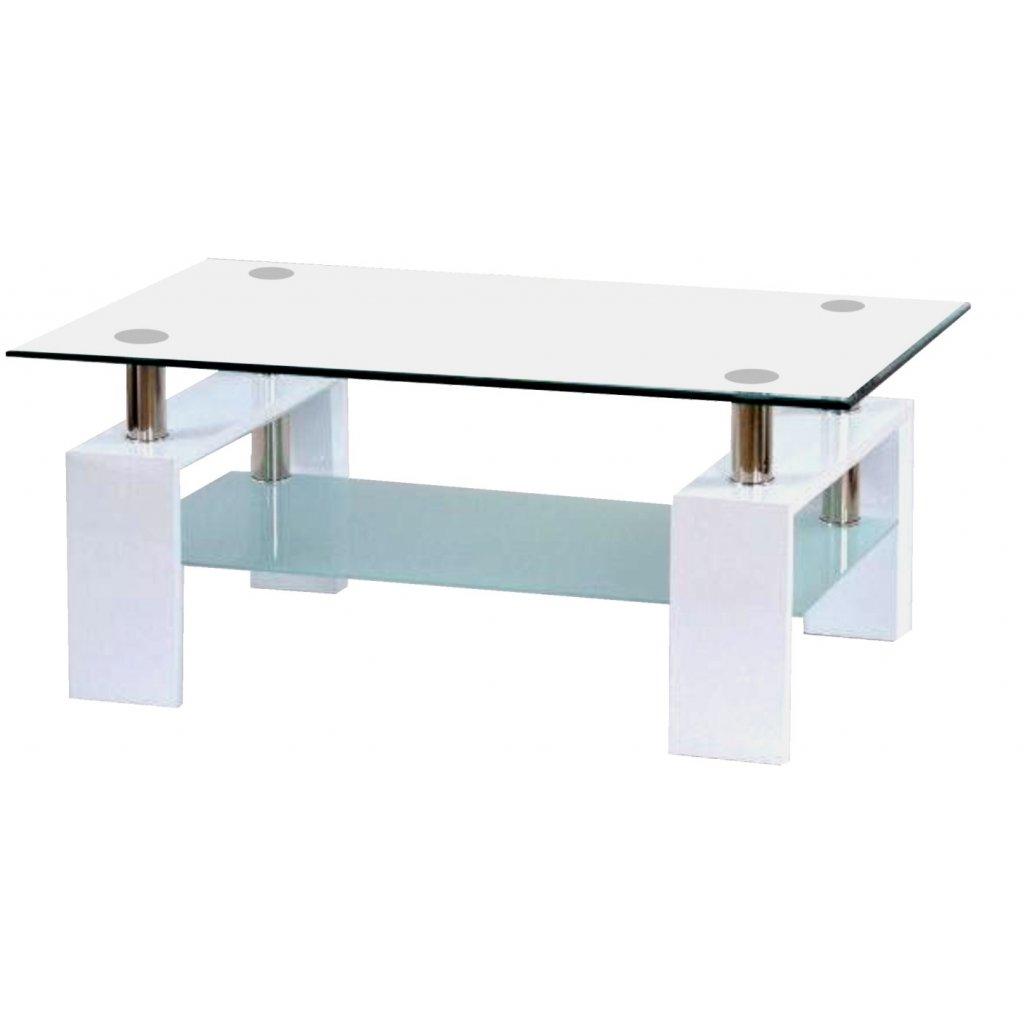 Konferenčný stolík A 08-3 biely / biele hornej sklo