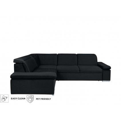 Rohová sedacia súprava: DARBY 1,5BK.E.2F (čierna)