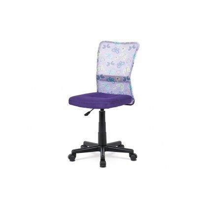 Detská kancelárska stolička, fialová mesh, plastový kríž, sieťovina motív