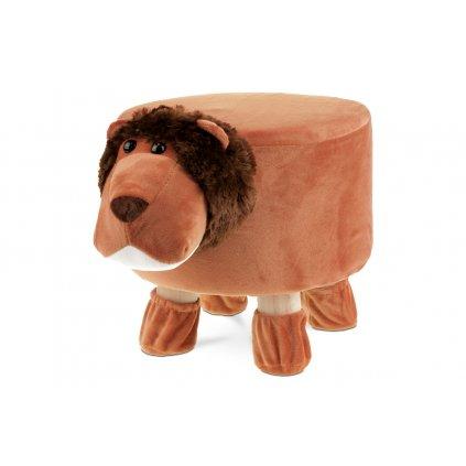 Detský taburet - lev, terracottová látka, drevené nohy