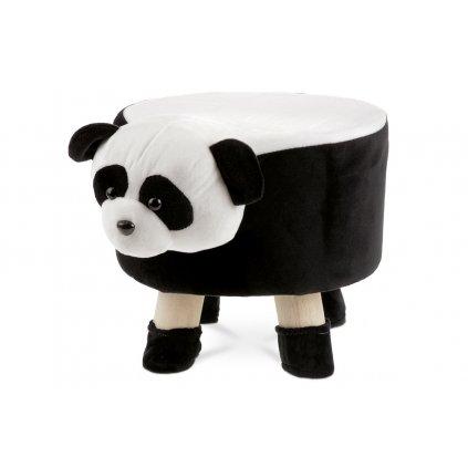 Detský taburet - panda, biela a čierna látka, drevené nohy