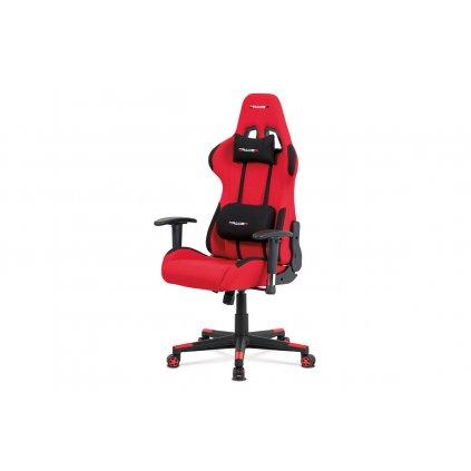 Kancelárska stolička hojdací mech., Čierna + červená koženka, plast. kríž