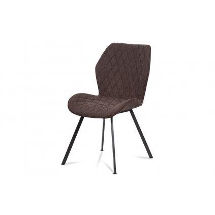 Jedálenská stolička, hnedá látka, kovová štvornohá podnož, antracitový matný lak