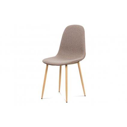 Jedálenská stolička, cappuccino látka-ekokože, kov dub