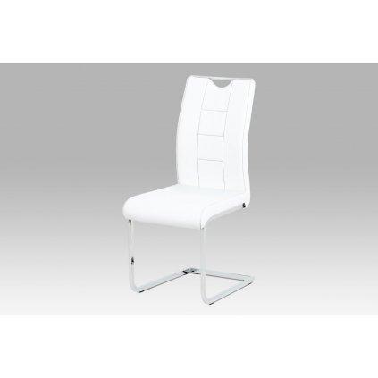 Jedálenská stolička biela koženka / chróm