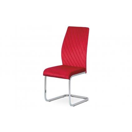 Jedálenská stolička, červená zamatová látka, kovová pohupovať chrómovaná podnož