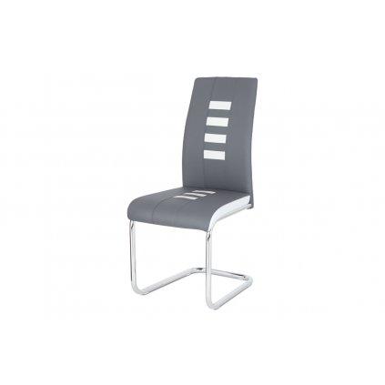 Jedálenská stolička ekokoža sivá / biela, chróm