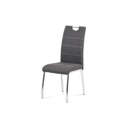 Jedálenská stolička, poťah sivá látka, biele prešitie, kovová štvornohá chrómovaná podnož