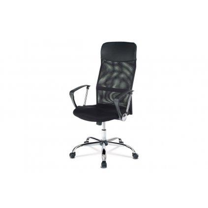 Kancelárska stolička s podhlavníkom z ekokože, poťah čierna látka MESH a sieťovina MESH, hojdací mechanizmus, kovový kríž