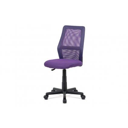 Detská kancelárska stolička, fialová MESH + ekokoža, výšk. nast., kríž plast čierny