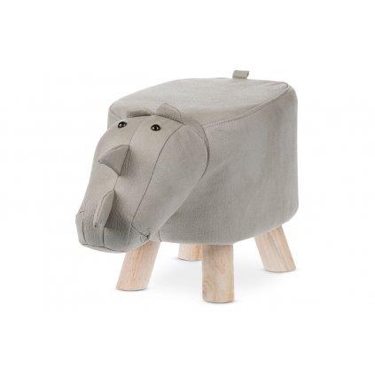 Taburet - nosorožec, potah světle šedá látka v dekoru kůže, masivní nohy z kauču