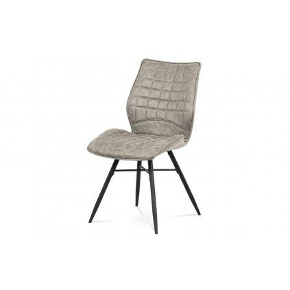 Jedálenská stolička, hľuzovkový látka vintage, kov čierny mat
