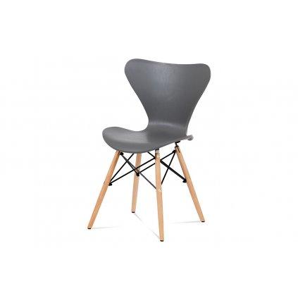 Jedálenská stolička šedý plast / natural