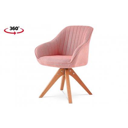 Jedálenská stolička Soňa, látka ružová, nohy masív buk