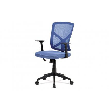 Kancelárska stolička, modrá MESH + sieťovina, plastový kríž, hojdací mechanizmus